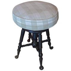 French Early 20th Century Revolving Piano Stool with Fabric Covered Seat