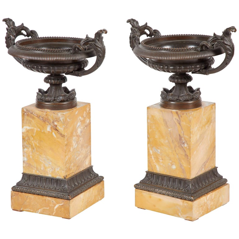 Pair of 19th Century, Italian Bronze and Marble Tazzas