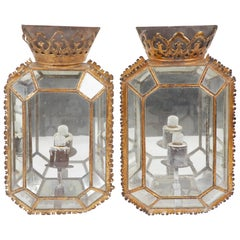 Pair of 19th Century Regency Glass and Tole Sconces