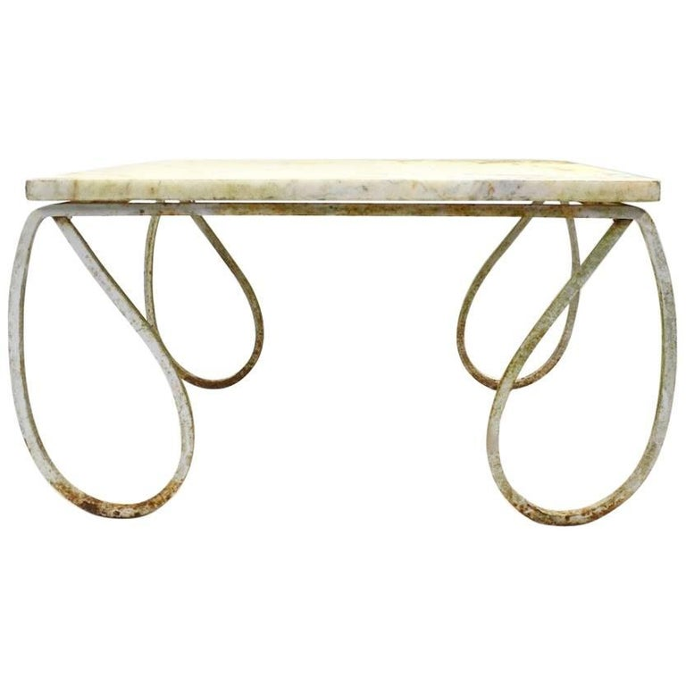Wrought Iron Marble-Top Table Attributed to Salterini