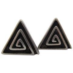 Sterling Cufflinks by Modernist Navajo Jeweler Kenneth Begay