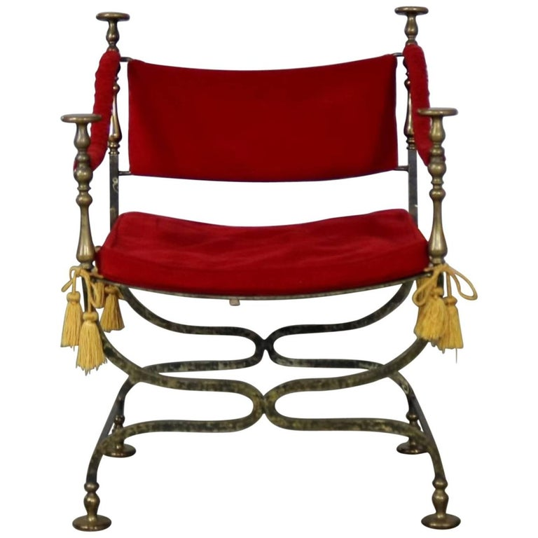 Wrought Iron and Brass Curule Savonarola Chair, Mid-20th Century For Sale