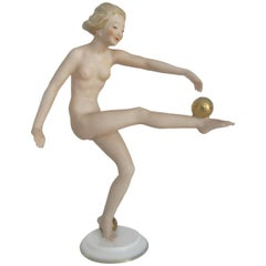 Hutschenreuther Art Deco Porcelain Nude Figure by Carl Werner