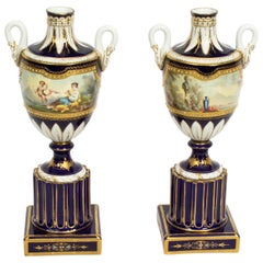 Antique Pair of French Sevres Porcelain Vases, 19th Century