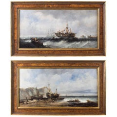 Antique Pair of Seascape Oil Paintings Fishing Boats, 19th Century