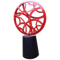 Contemporary Outdoor Large Abstract Steel Painted Sculpture, Model Red Light