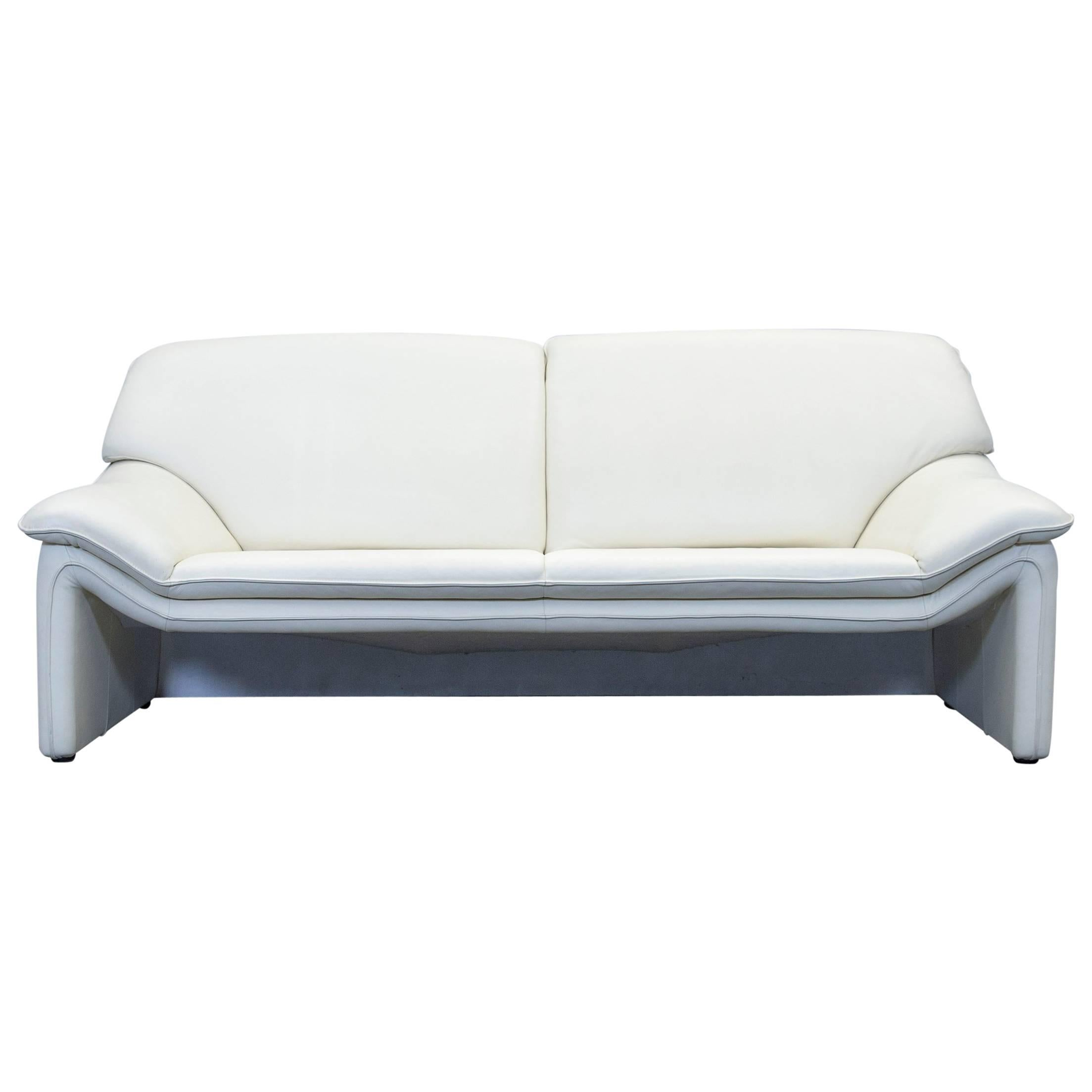 Laauser Atlanta Designer Sofa Leather Crème Two Seat Couch Modern For Sale