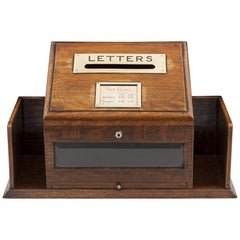 Antique Oak Glazed Victorian Letter Post Box 19th Century