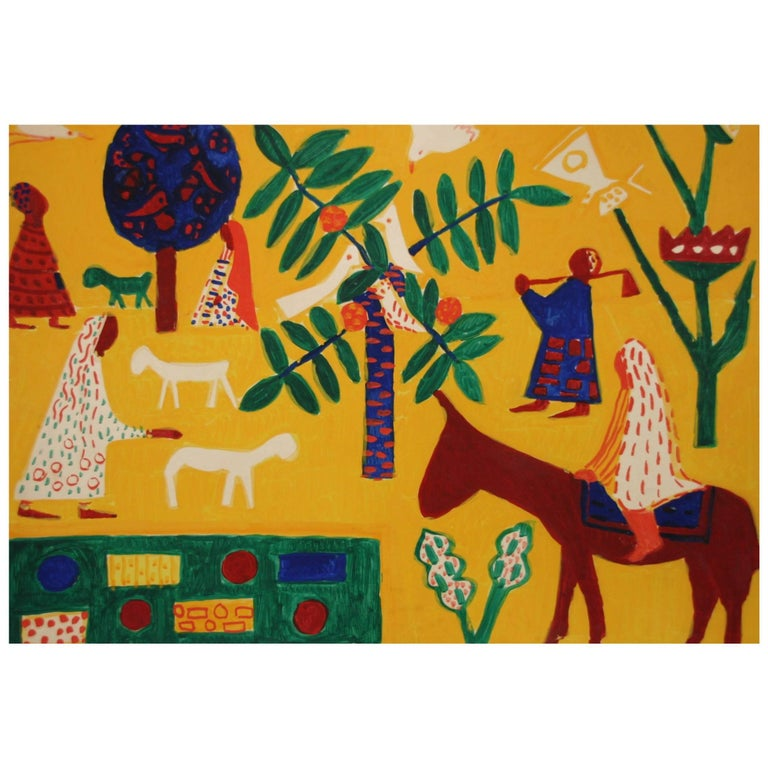 Albert Chubac, Gouache, Signed, circa 1960, France For Sale