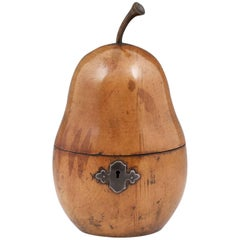 Antique Fruit Wood Treen Pear Tea Caddy, Early 19th Century
