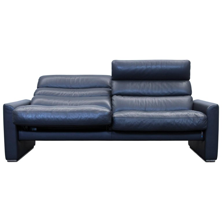 Erpo Soho Designer Sofa Leather Black Two-Seat Couch Modern Function