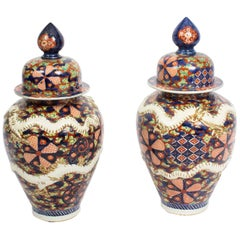Antique Large Pair of Japanese Imari Dragon Porcelain Vases, 19th Century