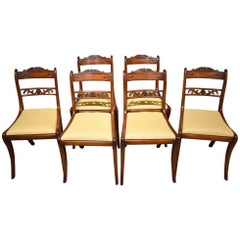 Good Set of Six Well Carved Regency Sabre Leg Chairs