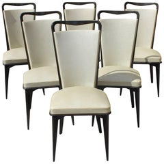 Set of Six French Art Deco Solid Macassar Ebony Dining Chairs, circa 1940s