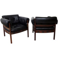 Pair of Arne Norell Rosewood Lounge Chairs for Coja Sweden in Black Leather