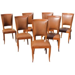 Classic Set of Seven French Art Deco Solid Mahogany Dining Chairs, circa 1940s