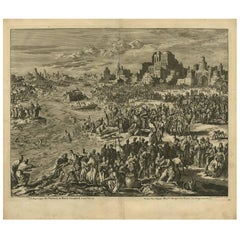 Antique Bible Print First Plague of Egypt by J. Luyken, 1743