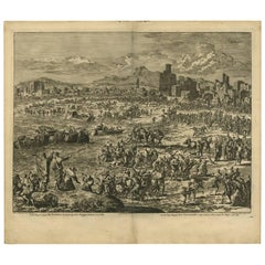 Antique Bible Print Second Plague of Egypt by J. Luyken, 1743