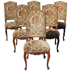 Fine Set of Six French Louis XV Solid Walnut Dining Chairs, circa 19th Century