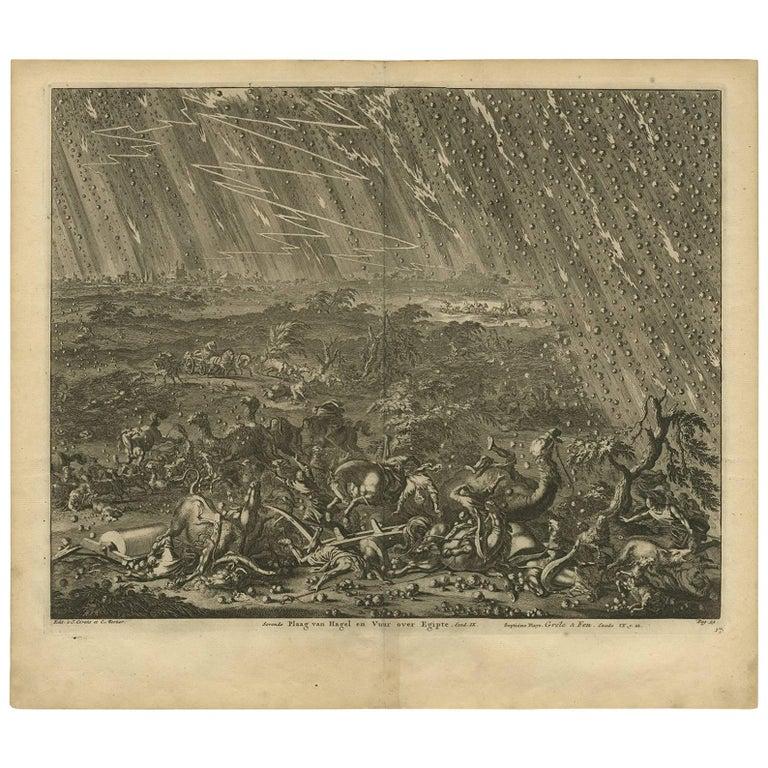 Antique Bible Print Seventh Plague of Egypt by J. Luyken, 1743