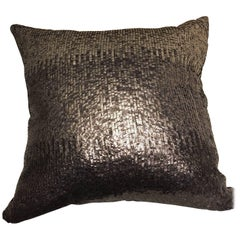 Cushion Hand Embroidery on Silk Velvet with Sequins in Fading Silver Shades