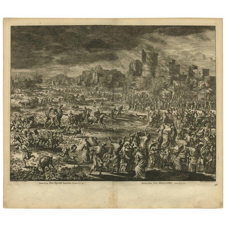 Antique Bible Print Eighth Plague of Egypt by J. Luyken, 1743