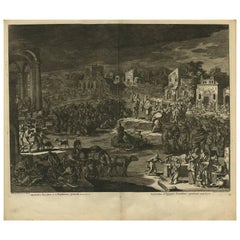 Antique Bible Print Ninth Plague of Egypt by J. Luyken, 1743