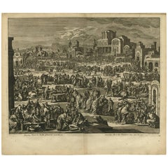 Antique Bible Print Tenth Plague of Egypt by J. Luyken, 1743