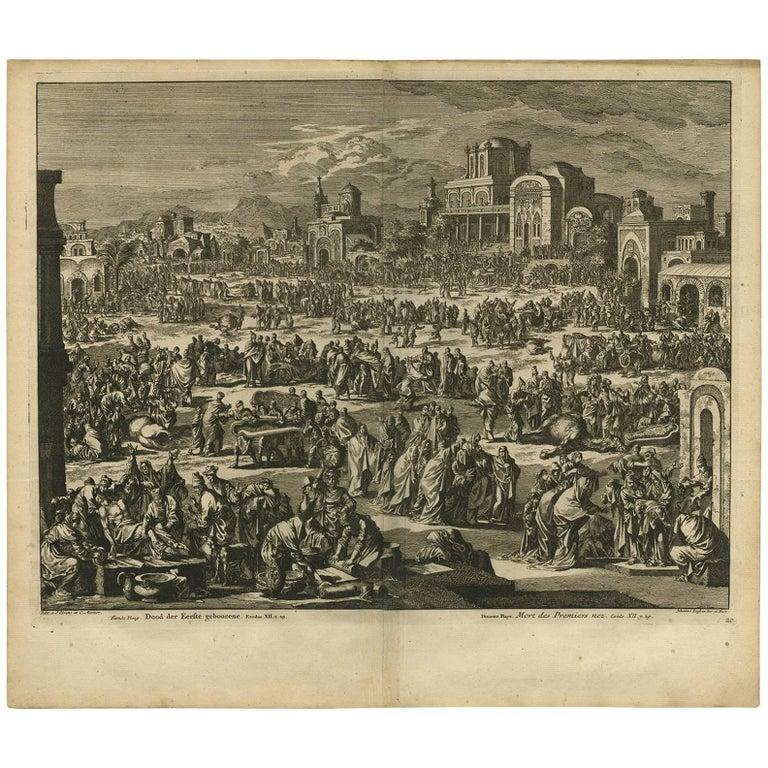 Antique Bible Print Tenth Plague of Egypt by J. Luyken, 1743