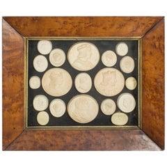 19th Century Set 19 Grand Tour Plaster Framed Portrait Medallions