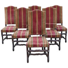 Monumental Set of Six Louis XIII Style Walnut Os De Mouton Dining Chairs