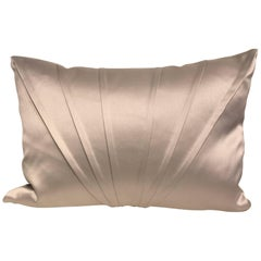 Silk Cushion Fan Pleat Detail Color Silver Grey Rectangular