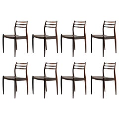 1950s Niels Moller Eight Model 78 Dining Chairs in Rosewood by JL. Mollers