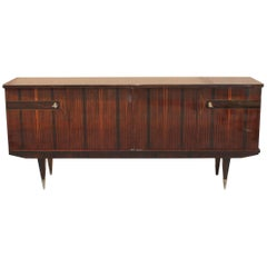 French Art Deco Exotic Macassar Ebony Sideboard/Credenza/Bar, circa 1940s
