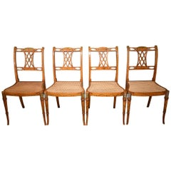 Late 19th Century Set of Four Satinwood Hand-Painted Chairs