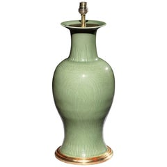 19th Century Celadon Vase with Incised Decoration