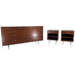 George Nelson for Herman Miller Thin Edge Dresser & Nightstands Suite in Walnut