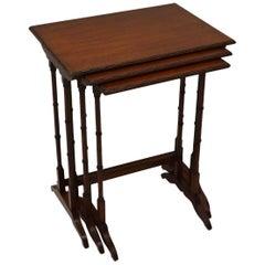 Antique Edwardian Mahogany Nest of Three Tables