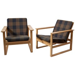 Børge Mogensen, Pair of Oak Armchairs for Fredericia Stole Fabrik, 1956