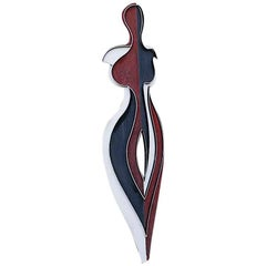 Contemporary Outdoor Large Abstract Metal Painted Sculpture, Model Plume
