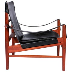 "Hans Olsen Rare Black Leather and Teak ""Antilop"" Safari Chair"