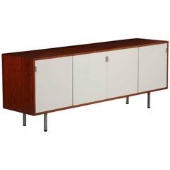 Florence Knoll Walnut and White Lacquer Four-Door Credenza, circa 1960s
