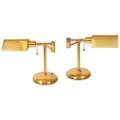 Pair of 1950s Italian Brass Desk Lamps