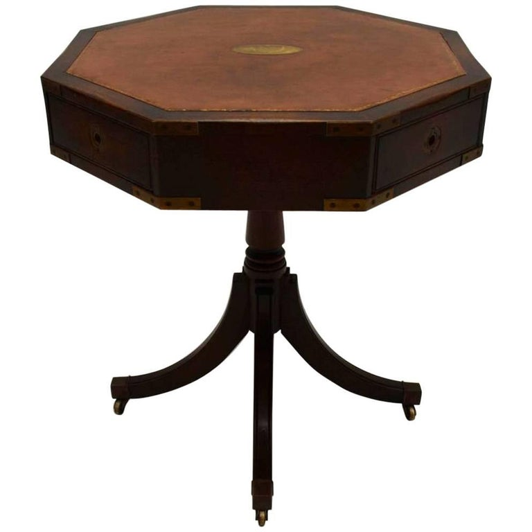Antique Round Leather Top Coffee Table: Antique Mahogany Leather Top Military Style Drum Table At