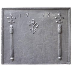 18th Century French 'Pillars with Fleur-de-Lys and Flower' Fireback