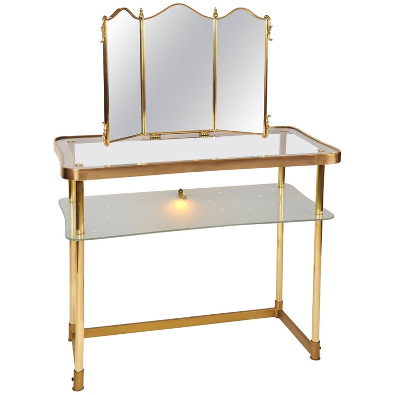 1950s Polka Dot Italian Dressing-Table or Vanity with Triptych Mirror
