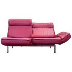 De Sede Ds 450 Designer Leather Sofa Red Relax Function Two-Seat Modern