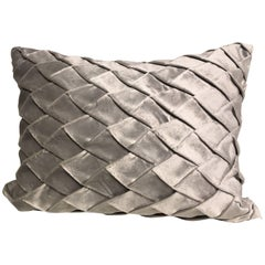 Silk Velvet Cushion Pleated Opal Pattern Embossed Colour Ice Green