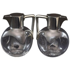 Pair of Silver and Cut-Glass Claret Jugs