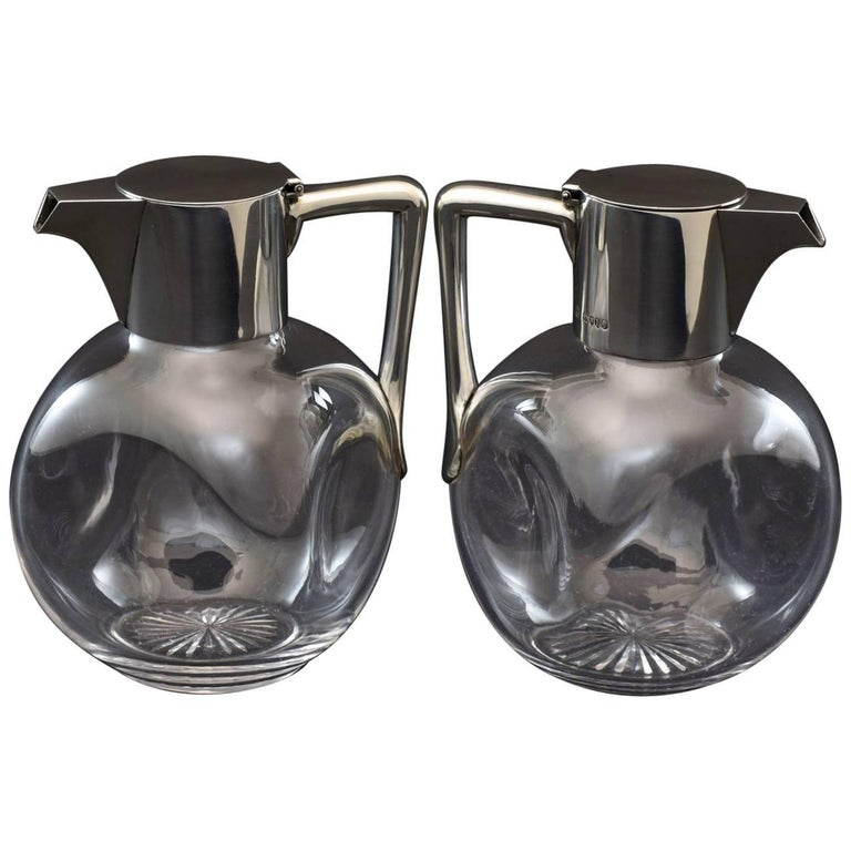 Pair of Silver and Cut-Glass Claret Jugs 1